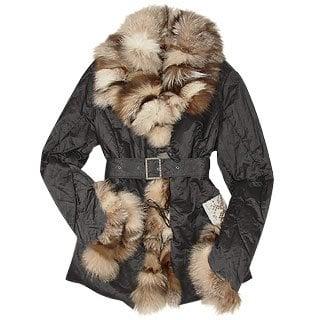 Forzieri - Metallic Black Fox-Fur Trim Puffer Coat